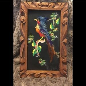 Vintage Hand Carved Frame Painting w/Real Feathers